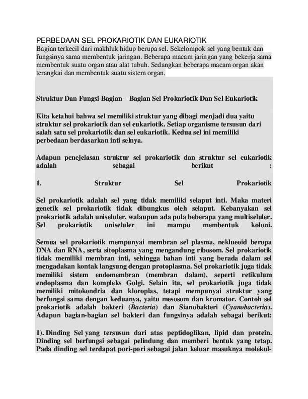 Doc Perbedaan Sel Prokariotik Dan Eukariotik Henryriddel Rawung Academia Edu