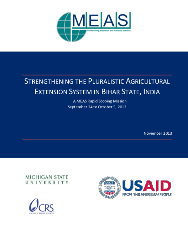 PDF) STRENGTHENING THE PLURALISTIC AGRICULTURAL EXTENSION SYSTEM IN
