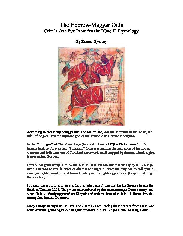 PDF) The Hebrew-Magyar Odin Odin's One Eye Provides the