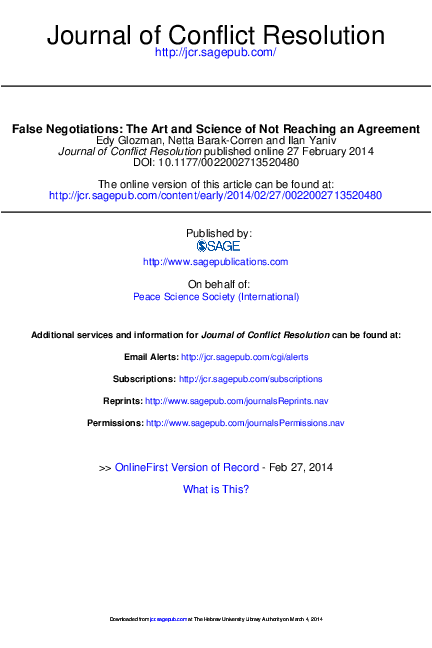 PDF) False Negotiations: The Art and Science of Not Reaching