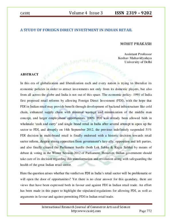b72e64f89 A STUDY OF FOREIGN DIRECT INVESTMENT IN INDIAN RETAIL MOHIT PRAKASH ...