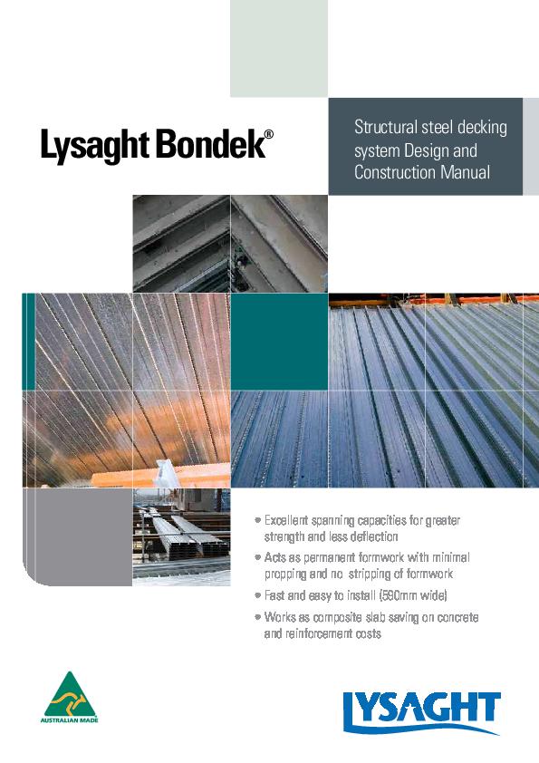 Pdf Lysaght Bondek Steel Decking Design Construction Manual Structural Steel Decking System Design And Construction Manual Try Mcs Academia Edu