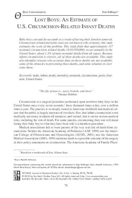 PDF) Lost Boys: An Estimate of U S  Circumcision-Related