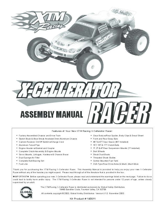 pdf) thank you for purchasing the xtm racing x-cellerator racer | alam  alfredo - academia.edu  academia.edu