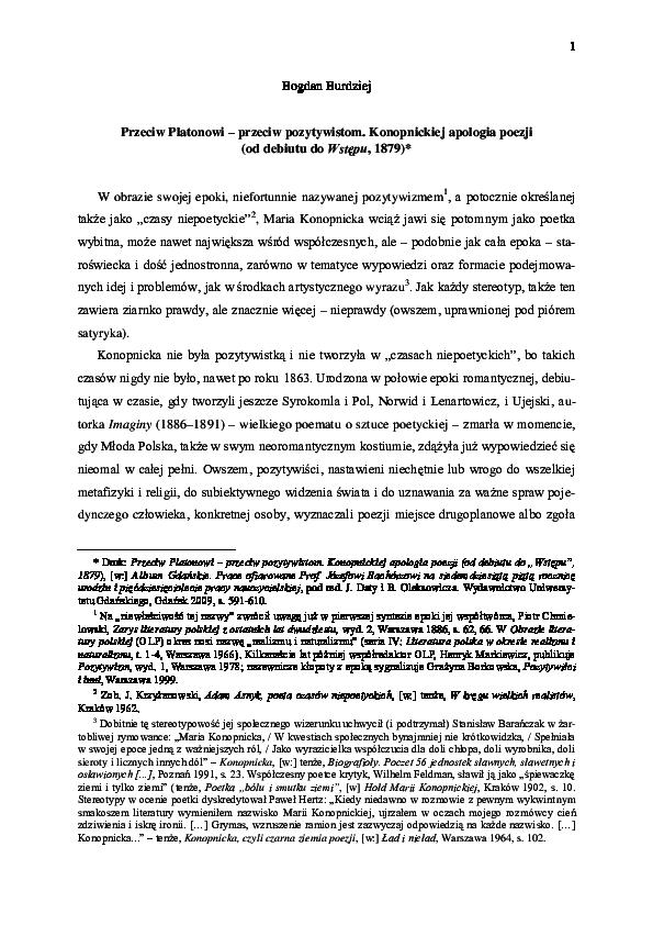 Burdziej Maria Konopnicka Vs Plato On Poetry Bogdan