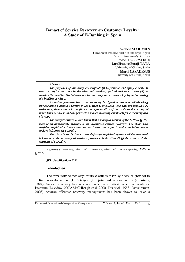 literature review of service recovery