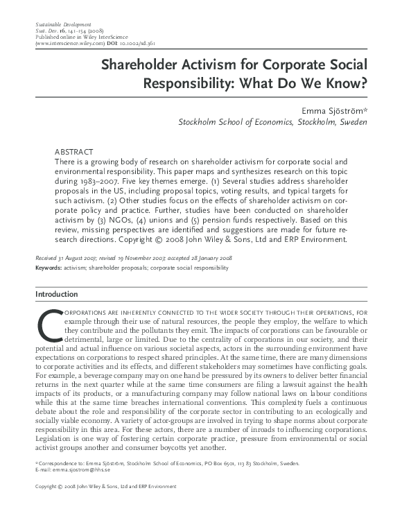 Shareholder Activism for Corporate Social Responsibility