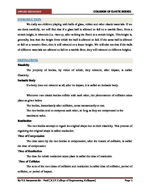 inelastic collision formula pdf