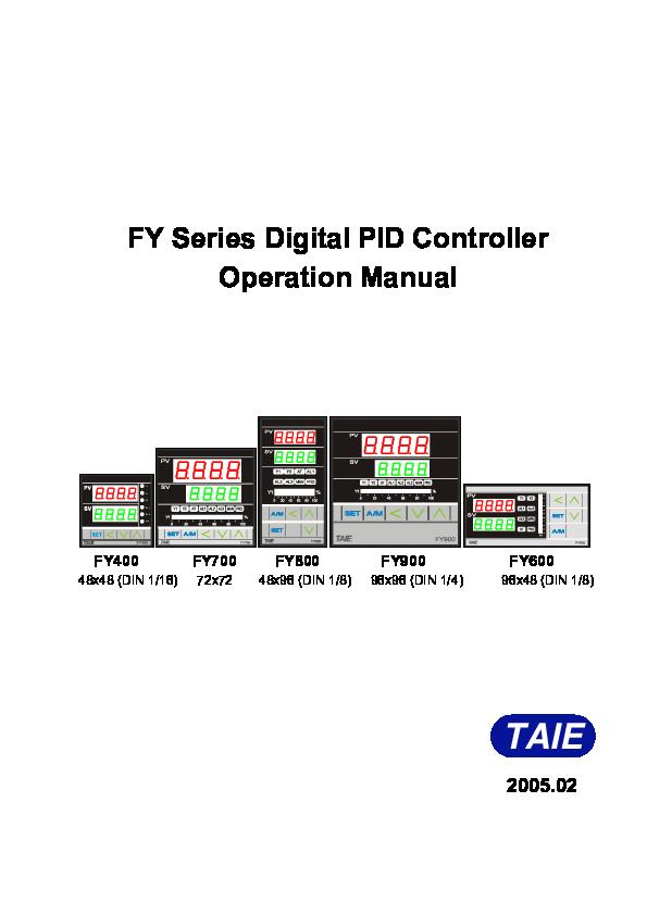 (PDF) FY Series Digital PID Controller Operation Manual
