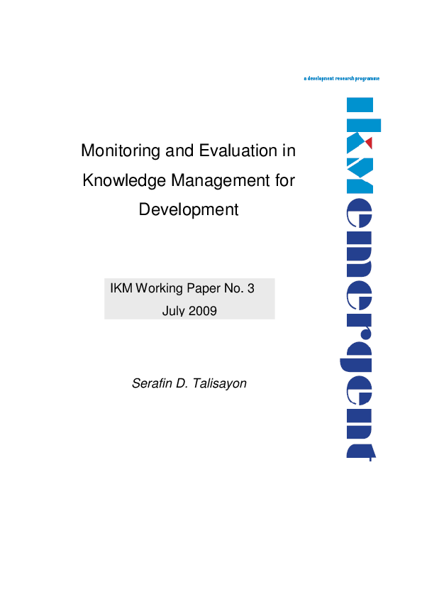 PDF) Monitoring and Evaluation in Knowledge Management for