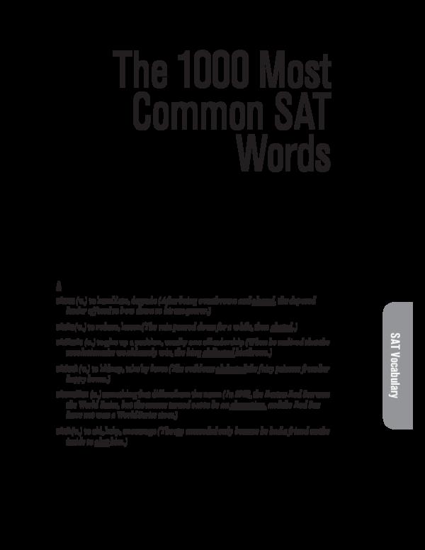 PDF) The 1000 Most Common SAT Words   matheus pereira - Academia edu