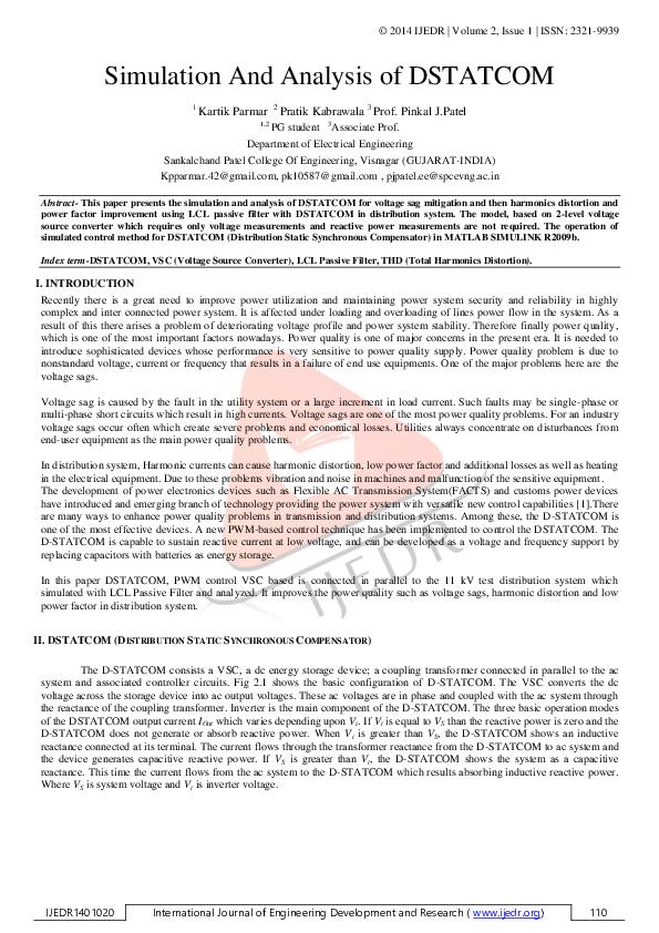 PDF) Simulation and Analysis of DSTATCOM | Editor
