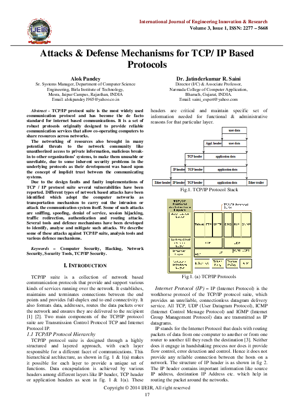 Pdf Attacks Defense Mechanisms For Tcp Ip Based Protocols Dr