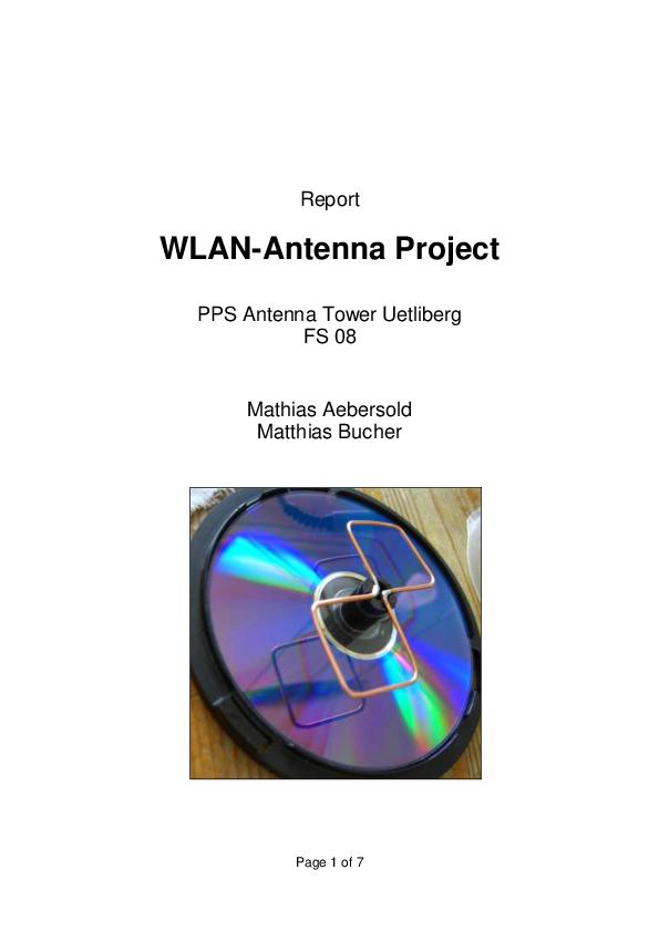PDF) WLAN-Antenna Project PPS Antenna Tower Uetliberg FS 08 | Jithin