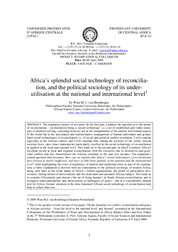 Africas Splendid Social Technology Of Reconcilia Tion And The