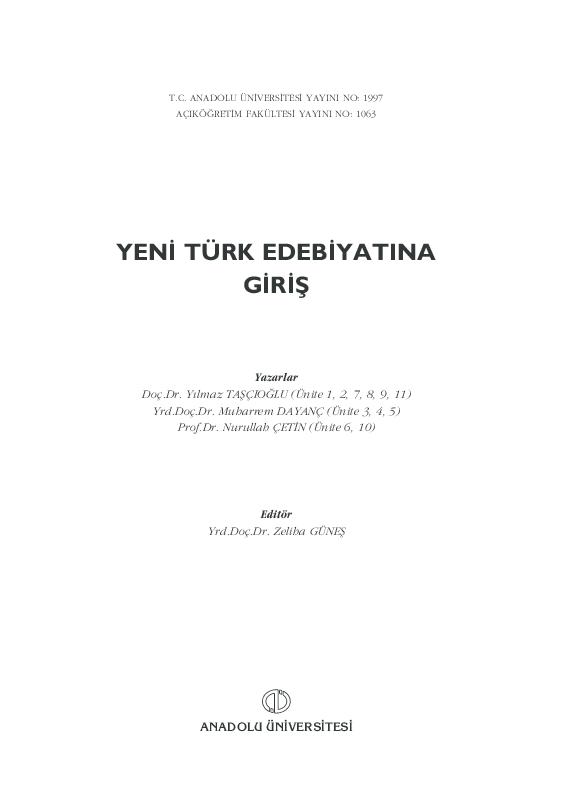 Pdf Y Turk Edebiyati Na Giris Burak Bilgic Academia Edu