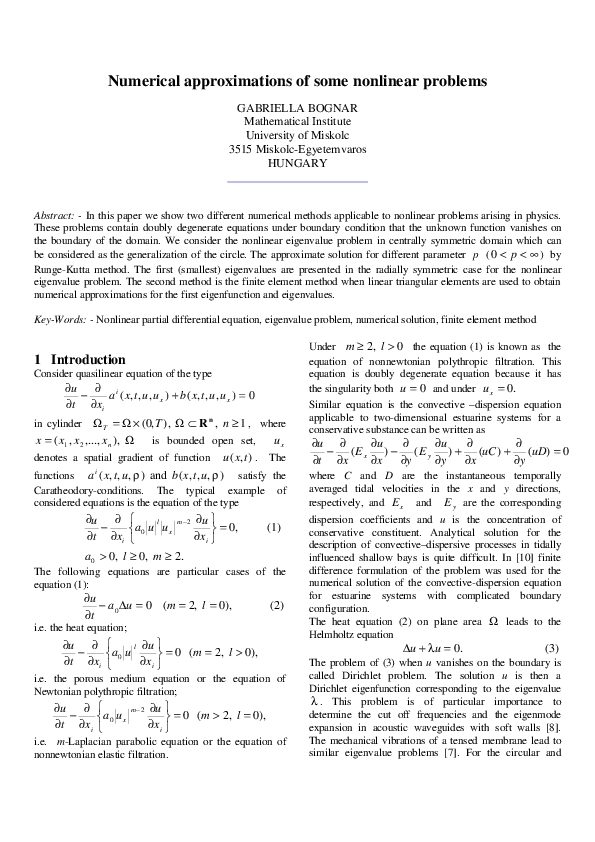 PDF) Numerical approximations of some nonlinear problems