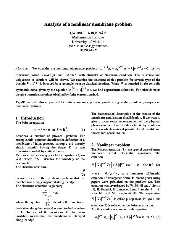 PDF) Analysis of a nonlinear membrane problem   Gabriella