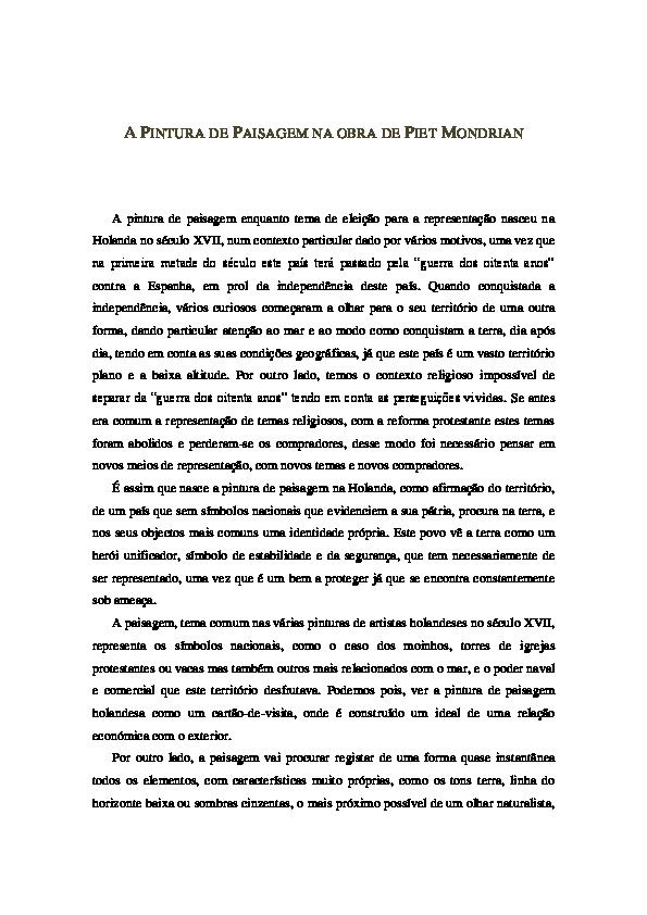 Doc Mondrian E A Pintura De Paisagem Jose Goncalves Academia Edu