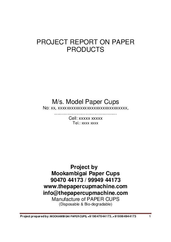PDF) PROJECT REPORT ON PAPER PRODUCTS M/s  Model Paper Cups