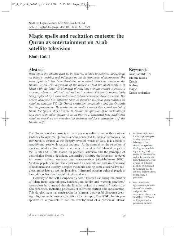 PDF) Magic spells and recitation contests: the Quran as