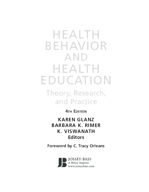 PDF) HEALTH BEHAVIOR AND HEALTH EDUCATION Theory, Research