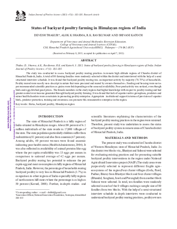 PDF) Status of backyard poultry farming in Himalayan regions