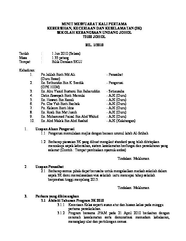 Pdf Minit Mesyuarat Kali Pertama Kebersihan Keceriaan Dan Keselamatan 3k Sekolah Kebangsaan Undang Johol 73100 Johol Norliza Esal Academia Edu