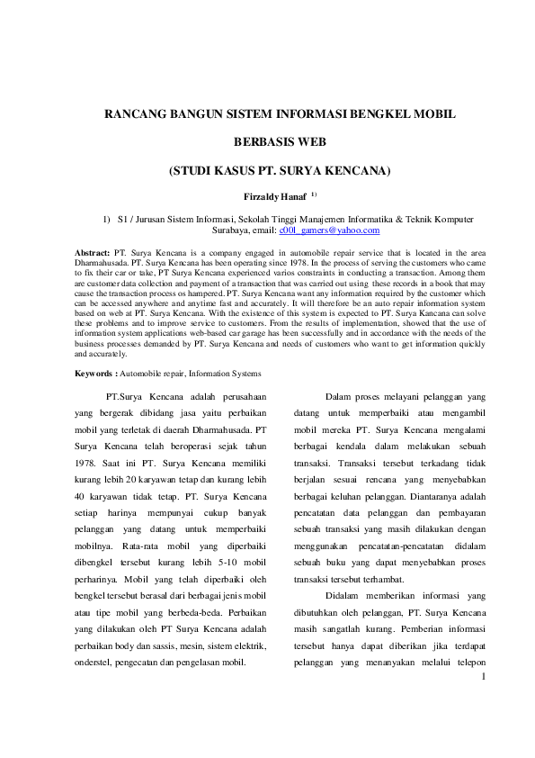 (PDF) RANCANG BANGUN SISTEM INFORMASI BENGKEL MOBIL