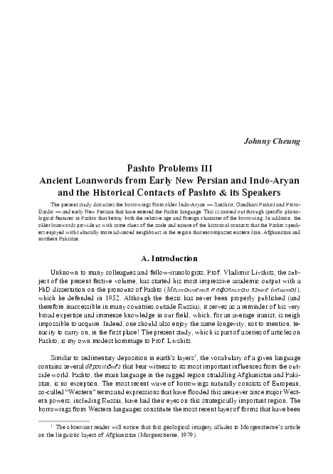 PDF) Pashto Problems III Ancient Loanwords from Early New Persian
