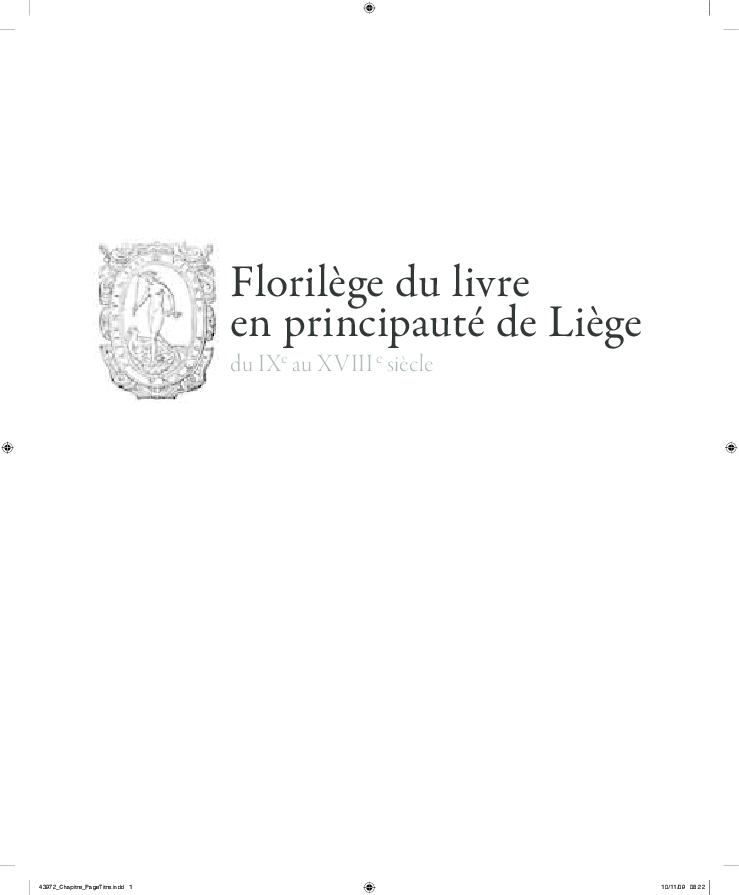 18e Du Au Siècle Principauté De Livre En Liège9e Florilège 80mNvwn