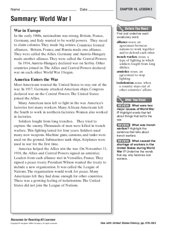 PDF) Summary: World War I CHAPTER 16, LESSON 2 Name Date