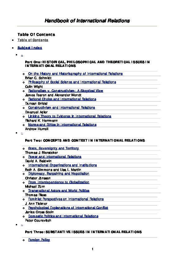 PDF) Handbook of International Relations | Irvan Zulfikar