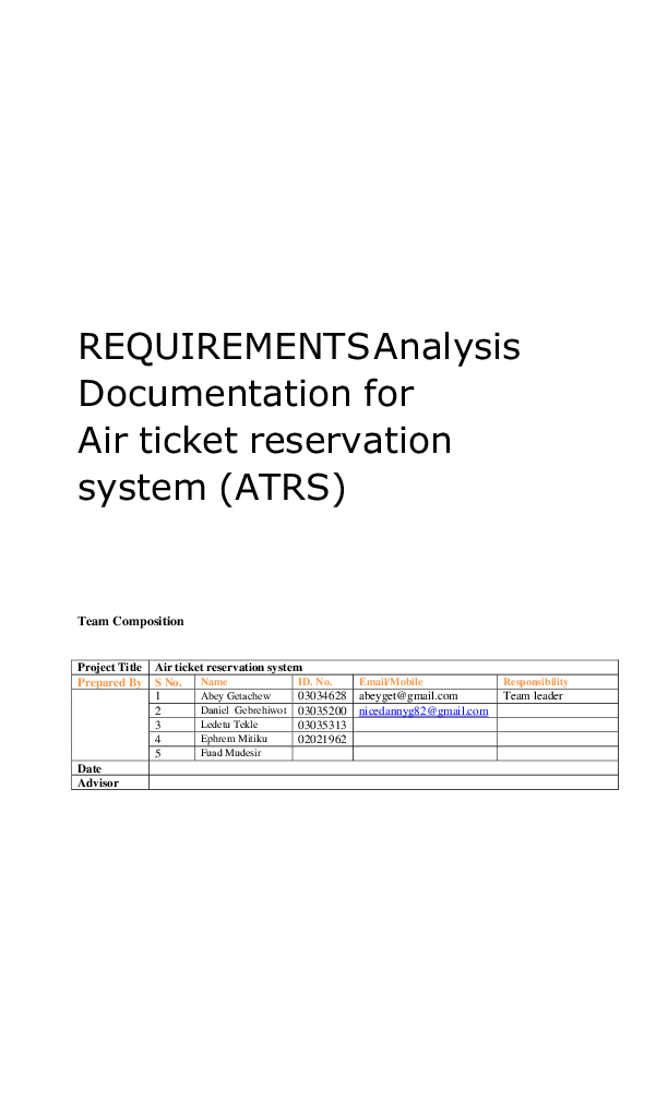 PDF) REQUIREMENTS Analysis Documentation for Air ticket reservation