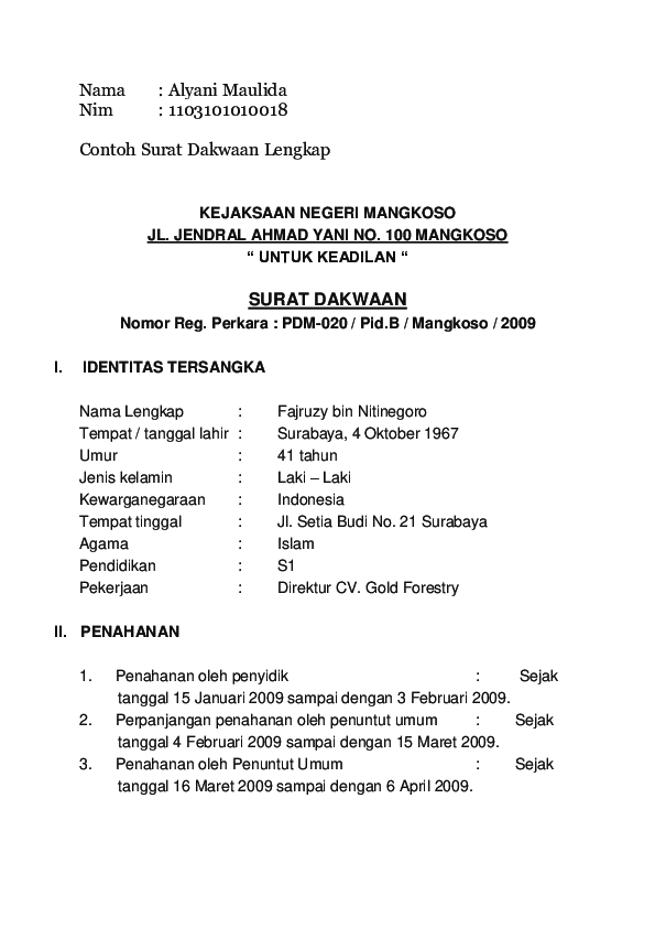 Doc Surat Dakwaan Al Al Ya Academiaedu