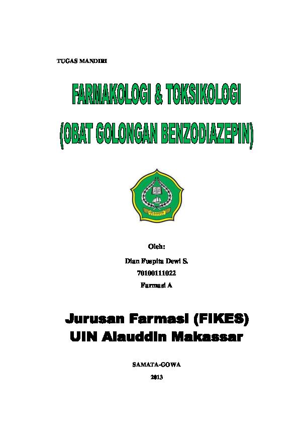 DOC) Tugas fartoks benzodiazepin | Dian Fuspita Dewi