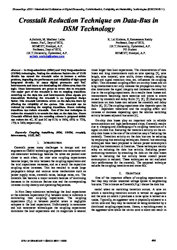 PDF) Crosstalk Reduction Technique on Data-Bus in DSM