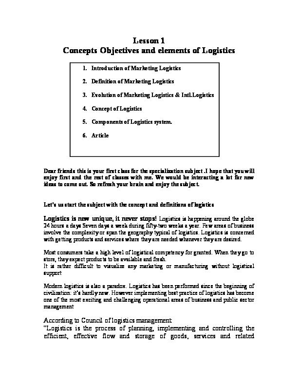 PDF) Logistics Concept, Evolution, Objectives and Elements