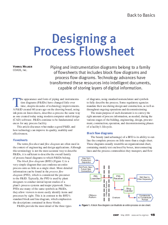 PDF) CEP Back to Basics Designing a Process Flowsheet ... A Block Flow Diagram on
