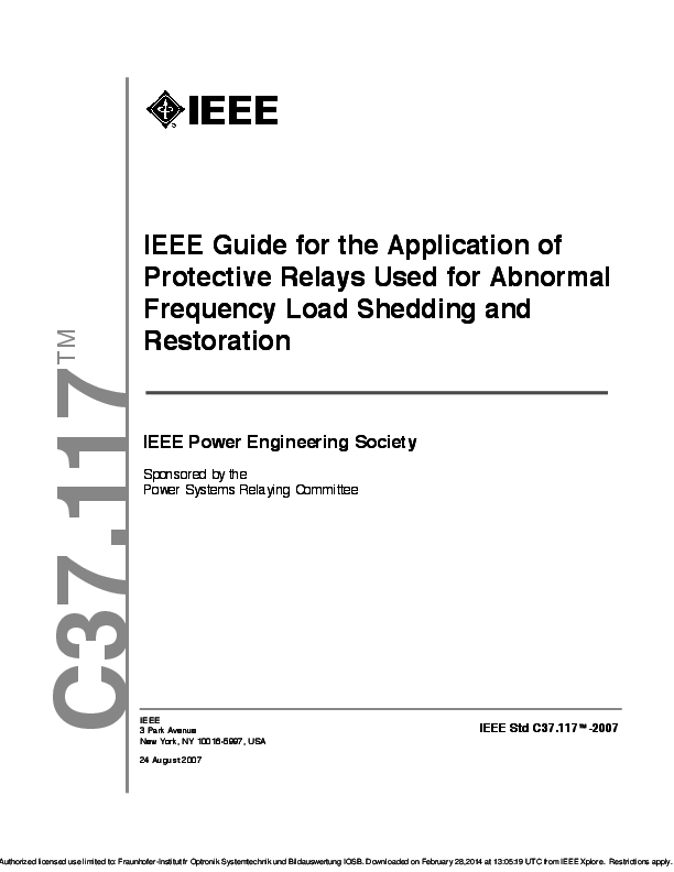 PDF) IEEE Guide for the Application of Protective Relays