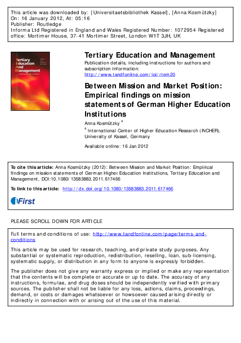 PDF) Tertiary Education and Management Between Mission and