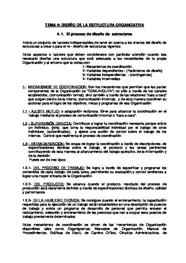 Pdf Tema 4 Diseño De La Estructura Organizativa Eduard