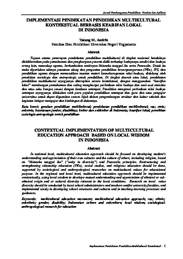 Pdf Jurnal Pembangunan Pendidikan Fondasi Dan Aplikasi Implementasi Pendekatan Pendidikan Multikultural Kontekstual Berbasis Kearifan Lokal Di Indonesia Contextual Implementation Of Multicultural Education Approach Based On Local Wisdom In Indonesia