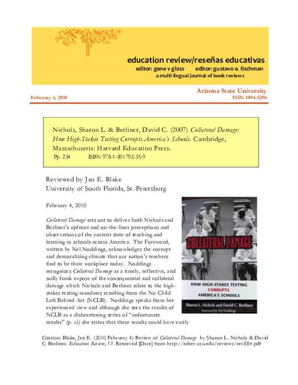 The Collateral Damage Of Testing >> Pdf Nichols Sharon L Berliner David C 2007 Collateral