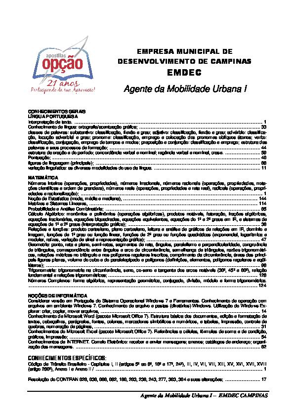 ac5ce1fb72f0a2 PDF) Agente da Mobilidade Urbana I – EMDEC CAMPINAS | Wellington ...