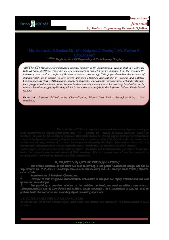 PDF) FPGA Based Power Efficient Chanalizer For Software