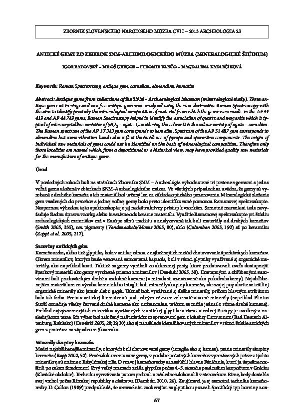 Raman spektroskopie datovania