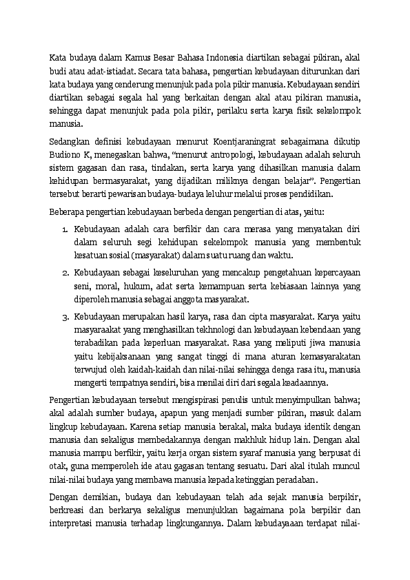 Doc Kata Budaya Dalam Kamus Besar Bahasa Indonesia Diartikan Sebagai Pikiran Yahiko Yahiko Academia Edu