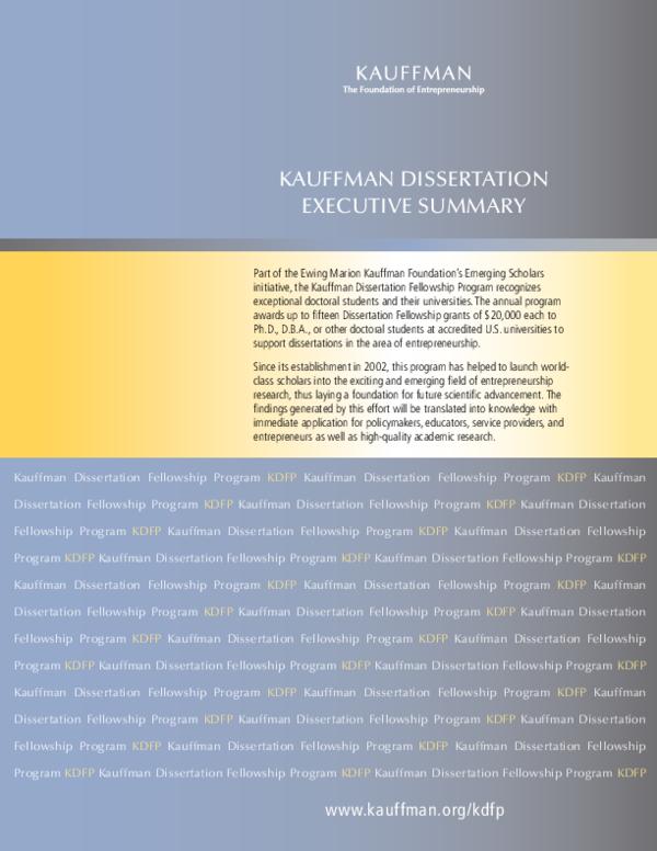 kauffman dissertation fellowship program
