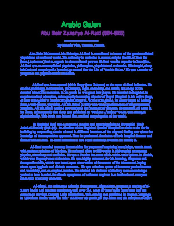 DOC) Abu Bakr Zakariya al-Razi (d 925) | Zakaria M Virk